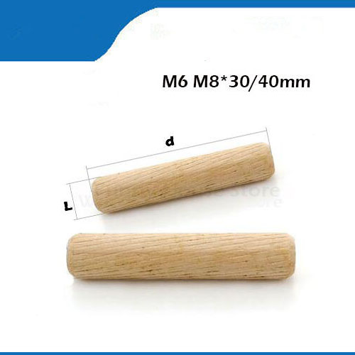20/50/100pcs M6/8/*30/40mm Wooden Dowel Cabinet Drawer Round Fluted Wood Craft Pins Rods Set Furniture Fitting Wooden Dowel Pin