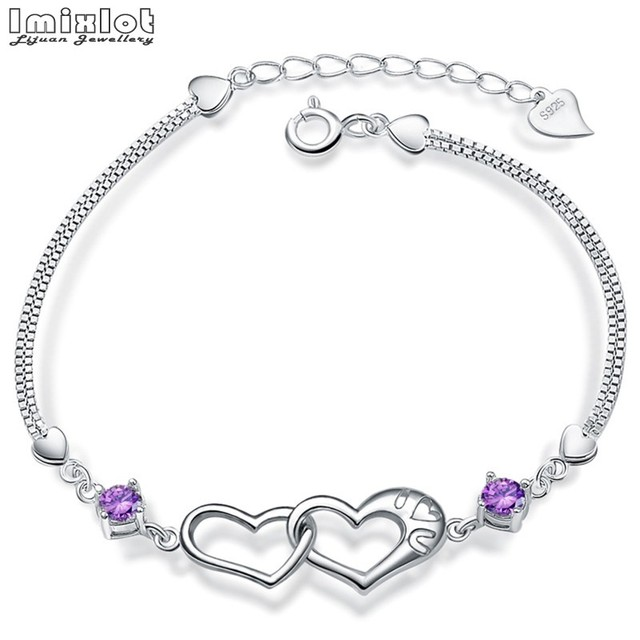 d35950e3e5 US $3.74 8% OFF|Imixlot 2018 Summer Silver Chain Link Bracelet for Women  Crystal Heart Jewelry Gift Wholesale Price Girls Bracelets & Bangles-in  Charm ...