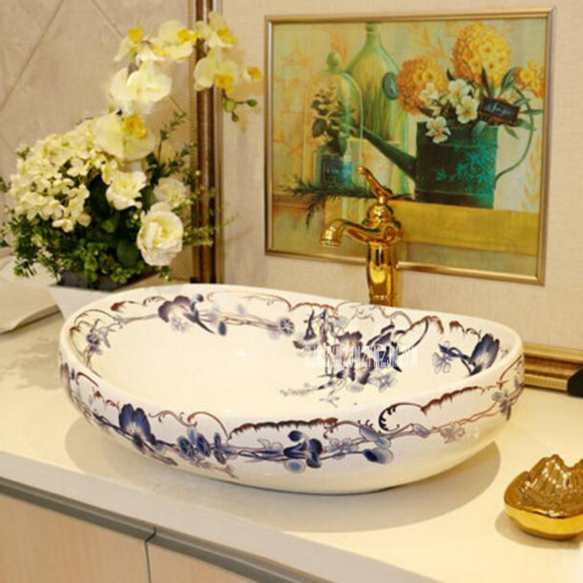 TY711 Ceramic Countertop Sinks High-quality Balcony Counter Basin Art Wash Basin Household Luxurious Washbasin Bathroom Sink