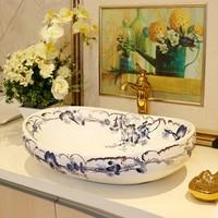TY711 Ceramic Countertop Sinks High quality Balcony Counter Basin Art Wash Basin Household Luxurious Washbasin Bathroom Sink