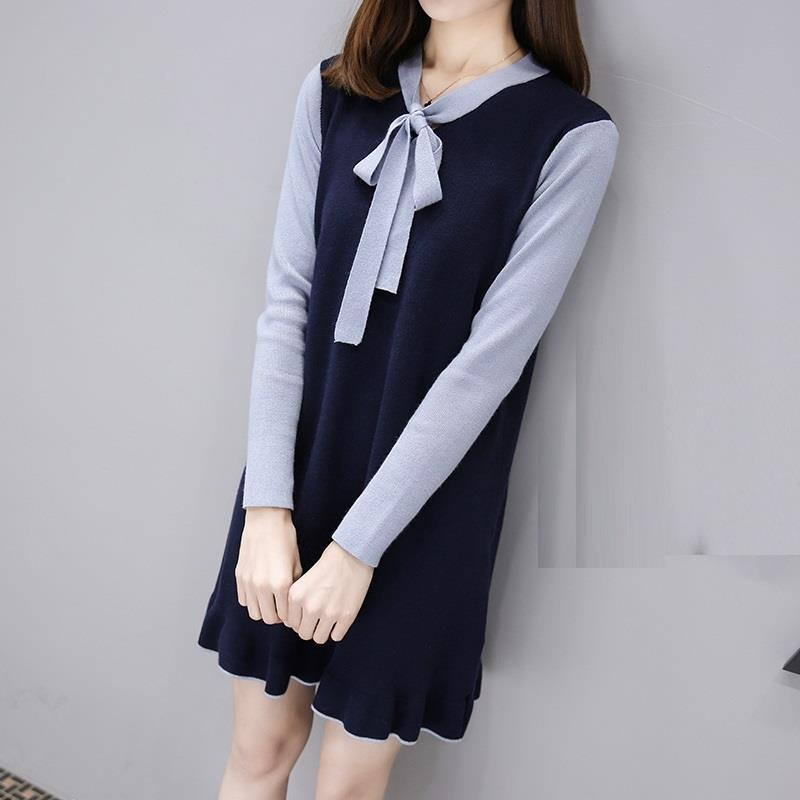 New in long section Korean version of the winter knitted sweater dress thickening sky blue cloud removable hat in the long section of cotton clothing 2017 winter new woman