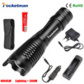 NEW Hot Sale LED Flashlight Zoomable 5Modes LED torch E17 CREE XM-L T6 4000 Lumens + AC/Car Charger + 18650 Rechargeable Battery