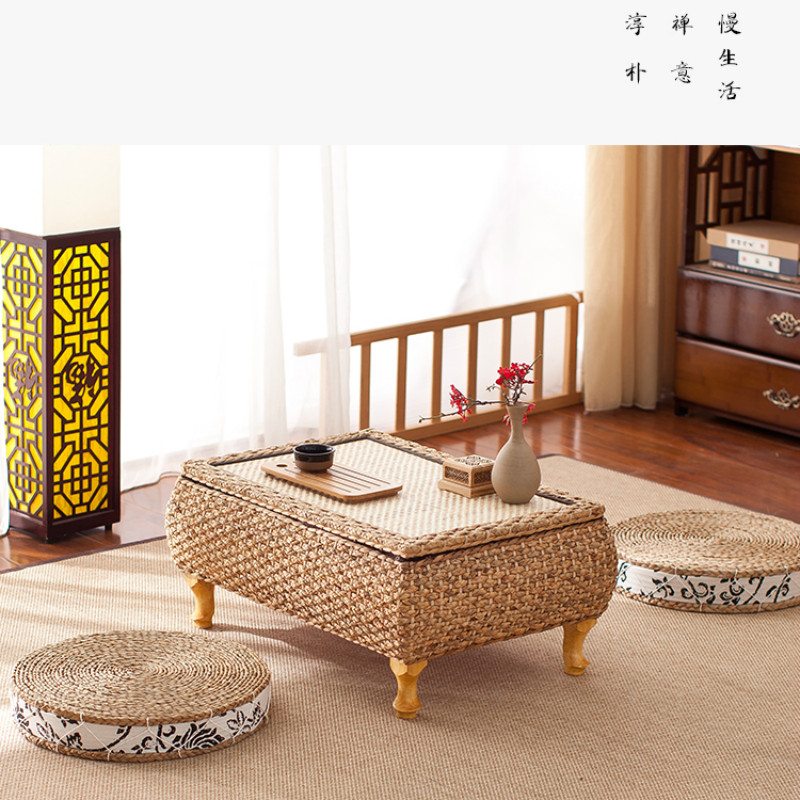 Rattan Anese Style Bay Window Table And Stool 3 Sets Of Combination Garden Tea Low Balcony Straw Coffee In Tables From Furniture