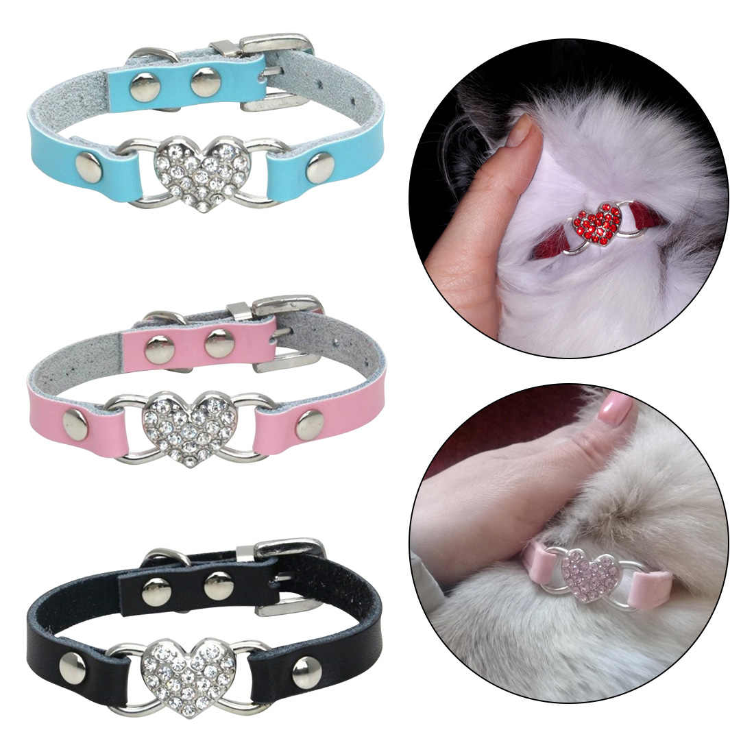 1pc 3Colors Pet Products Heart Charm Cat Collar Puppies Dog Safety Elastic Adjustable with Soft Material