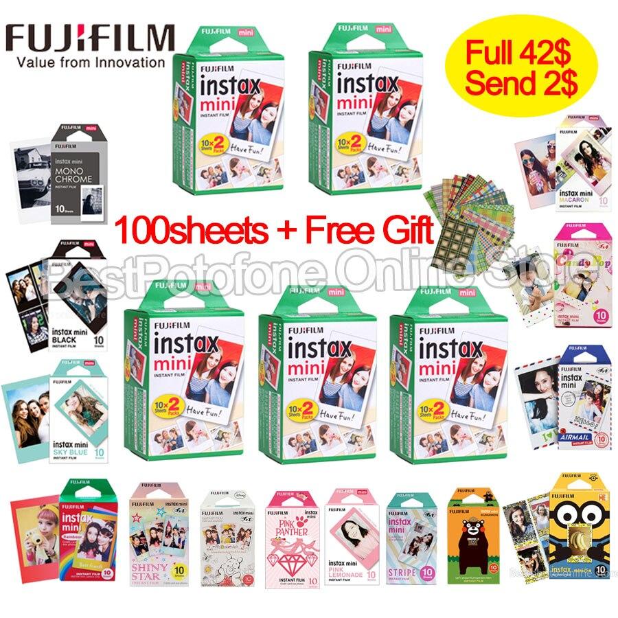 10-100 hojas Fuji Fujifilm instax mini 9 8 borde blanco películas de color de la información financiera para instax cámara instantánea mini 8 9 s 7 s de papel fotográfico