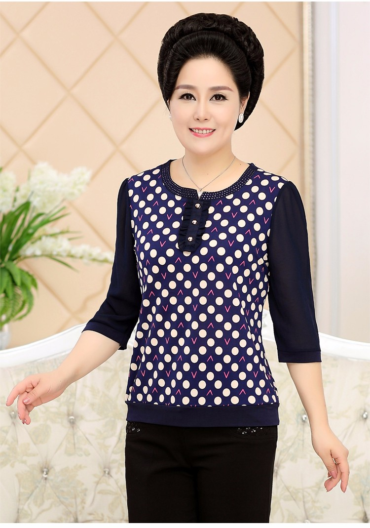 2017 Mother Chiffon Blouses Floral Print Tops Middle Aged Woman's Three Quater Sleeve Tunic Mature Lady Short Shirts O-neck Tops Plus Size Blouse (6)