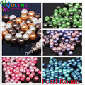 Nueva 6 MM 75 UNIDS Gradual color mezclado multicolor ronda perlas de imitación de cristal DIY grano de la perla Pulsera de la joyería collar de gargantilla haciendo