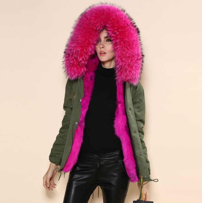 Aliexpress.com : Buy Mrs Fur Army Green Coat Light Pink