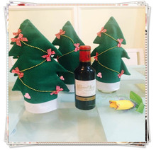 3PCS Christmas Tree Decoration Wine Bottle Cover Hat xmas Dinner Table Deco Wine Holders