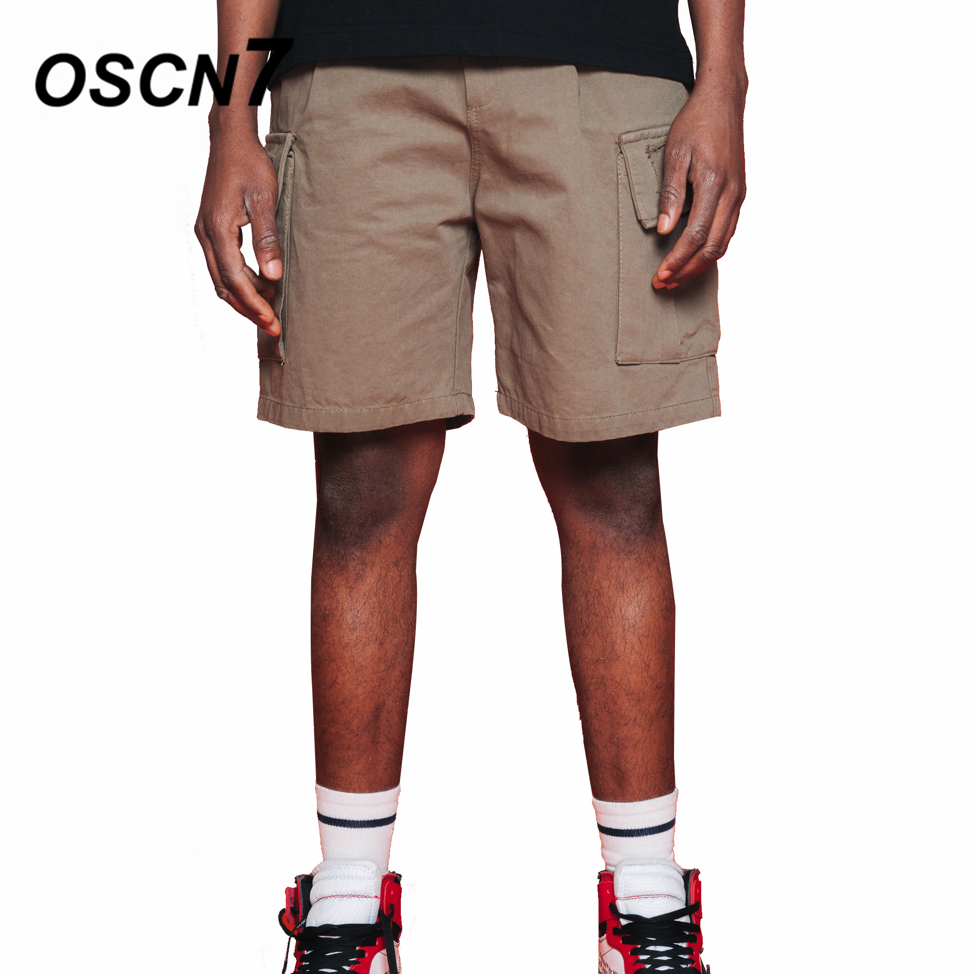 OSCN7 Fashion Cargo Short Pants Plus Size Casual Solid Cargo Shorts Summer Wash Color Mens Shorts D802
