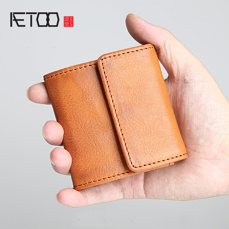 AETOO Handmade Retro Men s Short Wallet Leather Mini Coin Purse Young Crazy Horse Leather Coin