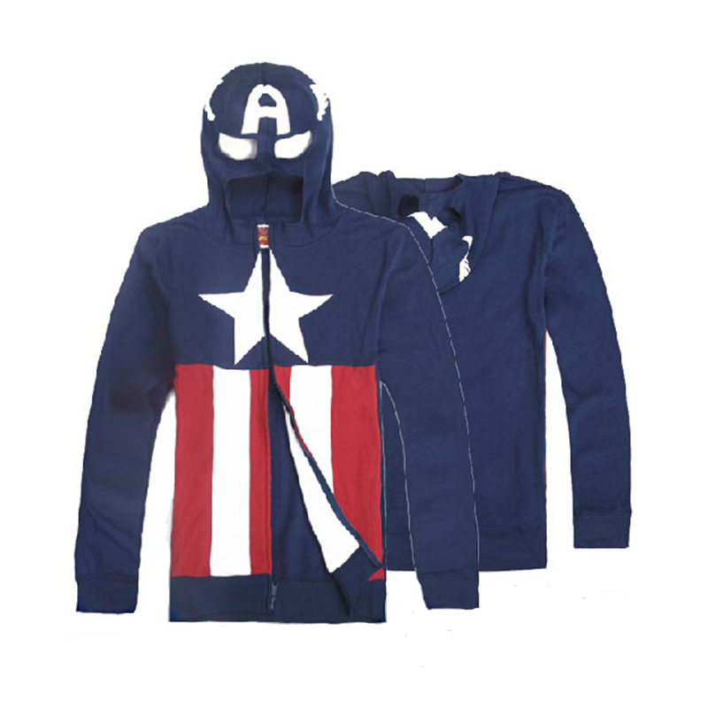 Captain America Hoodie of Shield Hooded Fashion Zipper Coats for Men Halloween Party Set Windproof Jacket