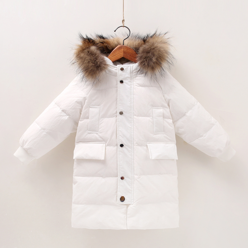 2018 Kids Snowsuits Winter Warm Thick Jackets Baby Boy Girl Clothes Duck Down Outwear Fur Collar Hooded Long Down Coats цены