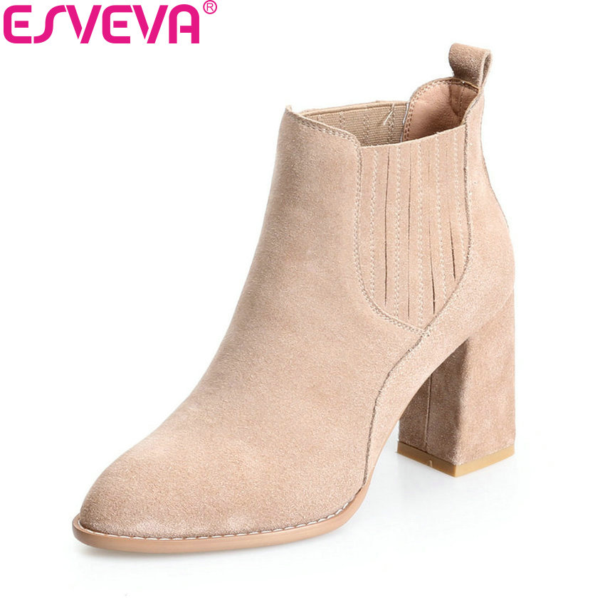 ESVEVA 2018 Women Boots Appointment Elegant Chunky Warm Fur Square High Heels Pointed Toe Ankle Boots Ladies Shoes Size 34-39 esveva 2018 women boots zippers square high heels appointment warm fur pointed toe ankle boots chunky ladies shoes size 34 39