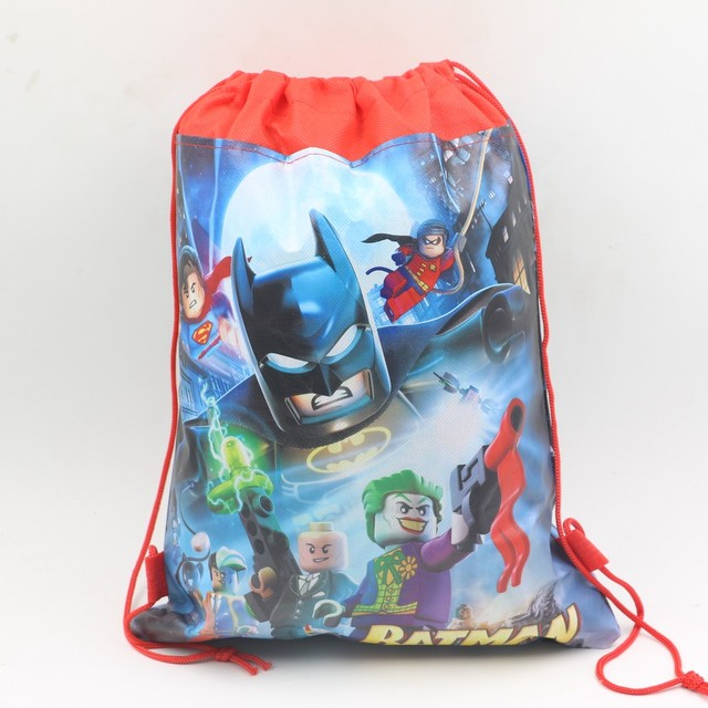 10pc Lego Cartoon Backpack Batman Non Woven Fabric Drawstring Bags For Kid Favor Party Gift