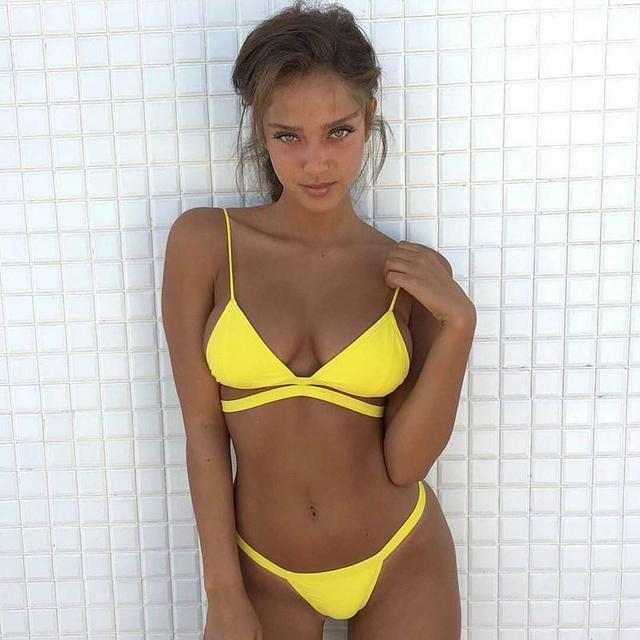 6daa6afb64 CALOFE 2018 Sexy brésilien string Bikini ensemble maillots de bain femmes  maillot de bain femmes Triangle