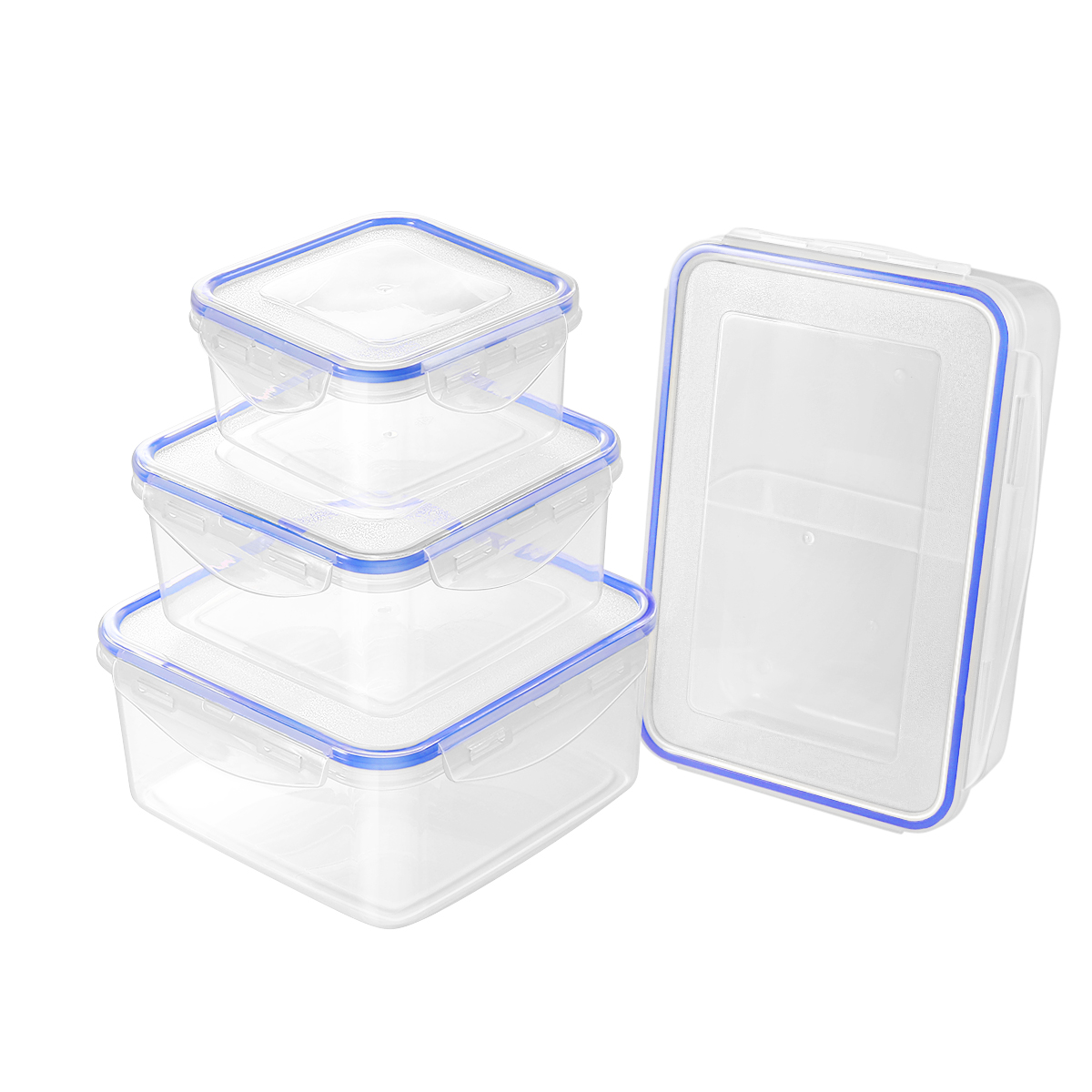 Hemoton 4PCS Transparent Plastic Food Container Durable Vegetable Fruit Storage For Home Store Restaurants Kitchen Gadget in Bottles Jars Boxes from Home Garden