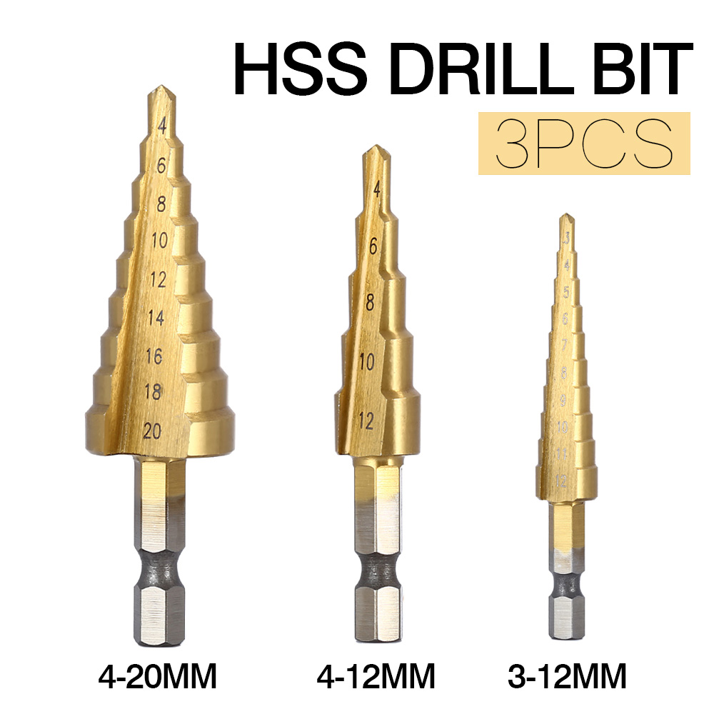 3pcs HSS Steel Titanium Step Drill Bits 3-12mm 4-12mm 4-20mm Step Cone Cutting Tools Steel Woodworking Wood Metal Drilling Set 3pcs hss steel titanium step drill bits set cone cutting tools steel woodworking wood metal drilling set 3 12mm 4 12mm 4 20mm