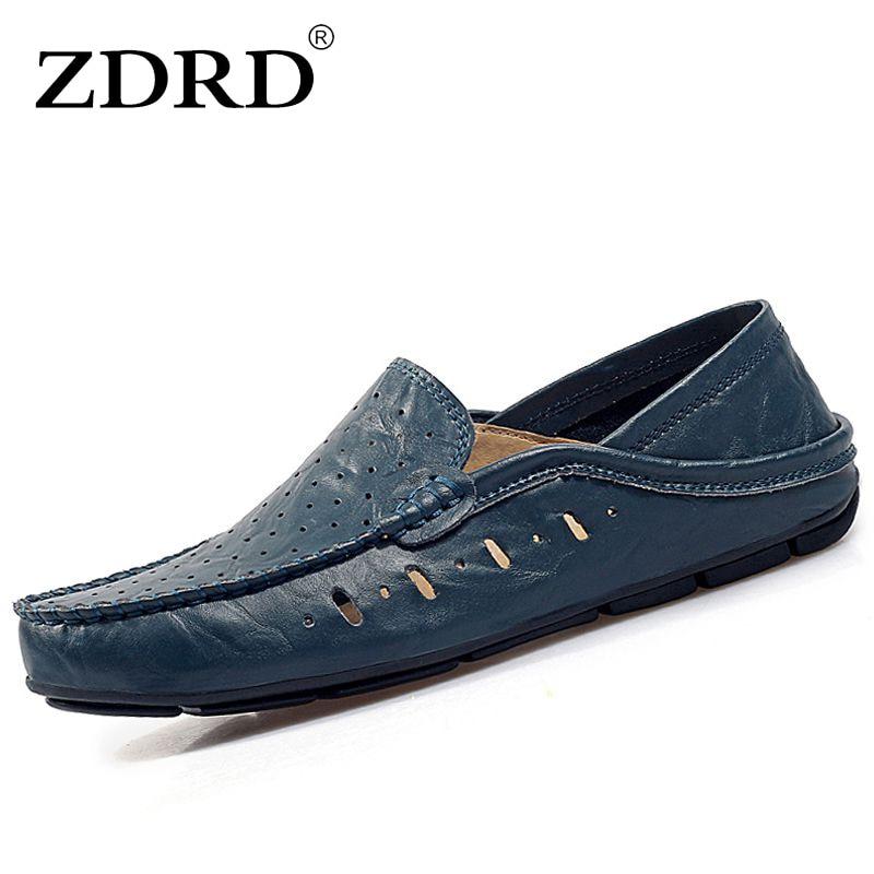 1d986ff7e ZDRD جديد وصول الصيف الرجال الشقق أحذية أعلى جودة البقر انقسام الرجال أحذية  قيادة تنفس جولة تو الانزلاق على الرجال حذاء فاخر