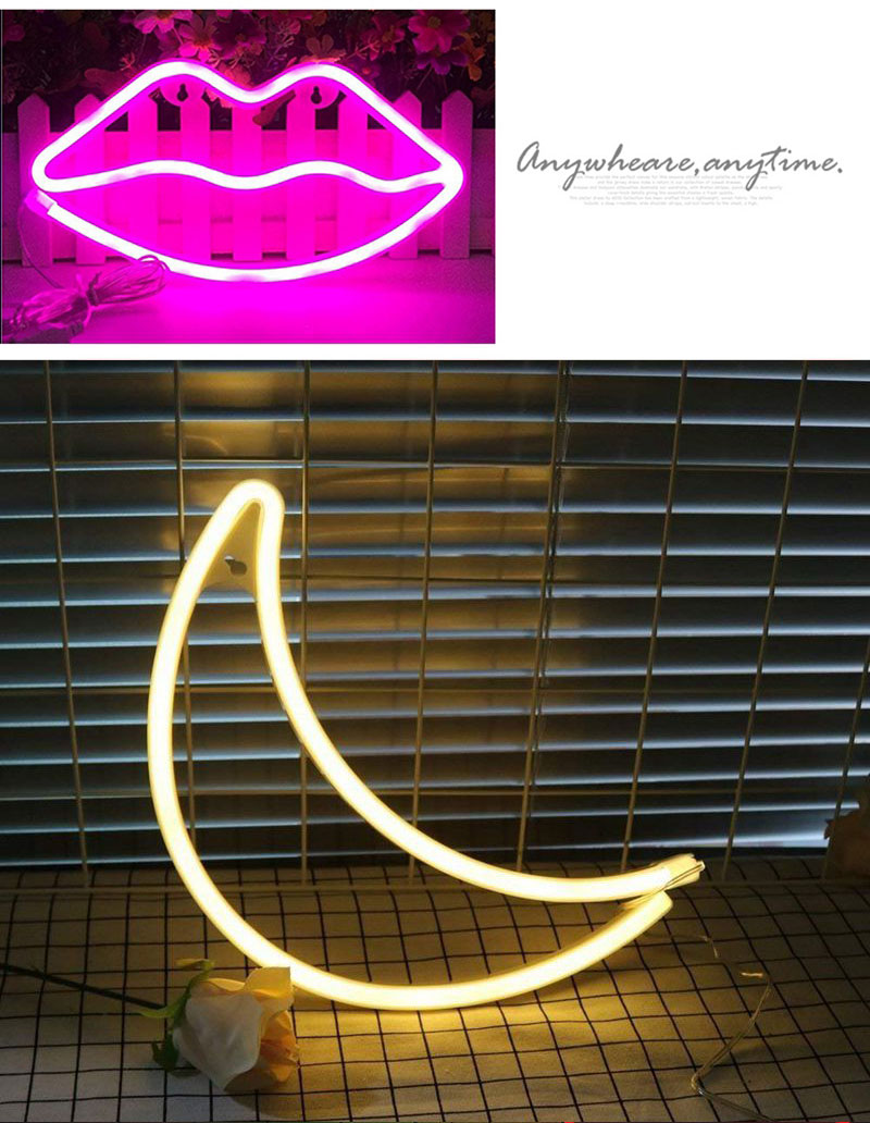 Cute LED Neon Sign Light Cloud Lips Moon Neon Light Holiday Party Wedding Decorations USB Night Lamp Home Decor Drop Shipping (10)
