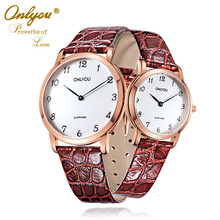 Onlyou Leather Watches for Men and Women Water Resistant Quartz Lover's Wristwatch Analog Luxury Simple Lady Dress Watch 6956