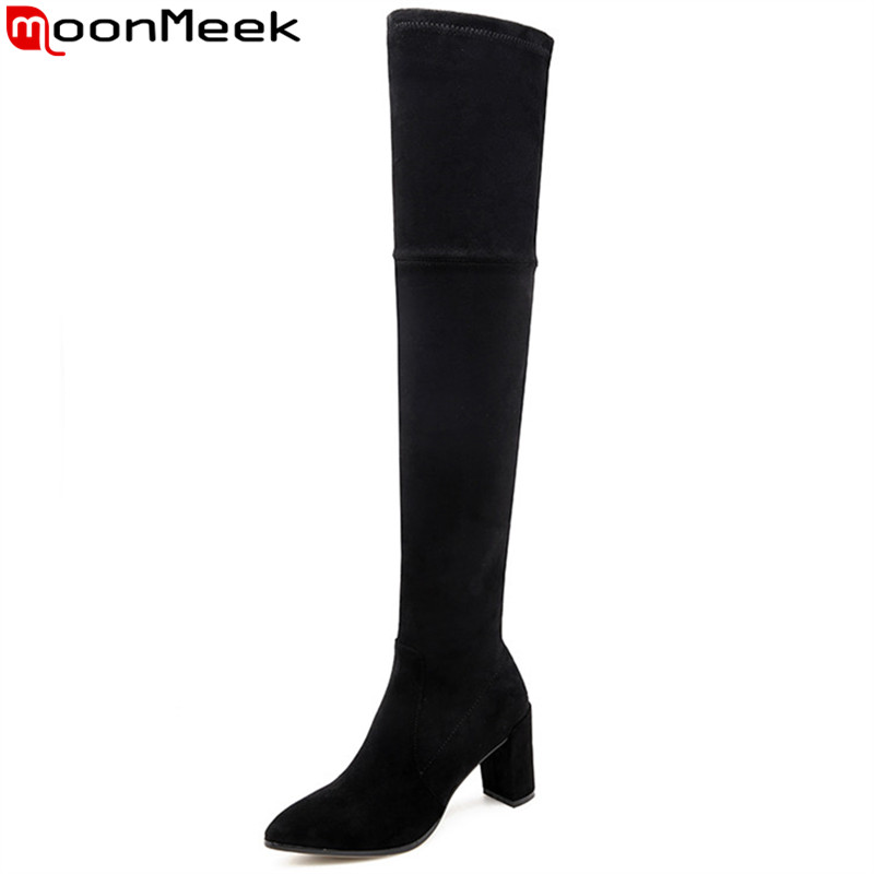 MoonMeek black red fashion over the knee boots pointed toe zip faux suede boots thick high heels thigh high boots ladies shoesMoonMeek black red fashion over the knee boots pointed toe zip faux suede boots thick high heels thigh high boots ladies shoes