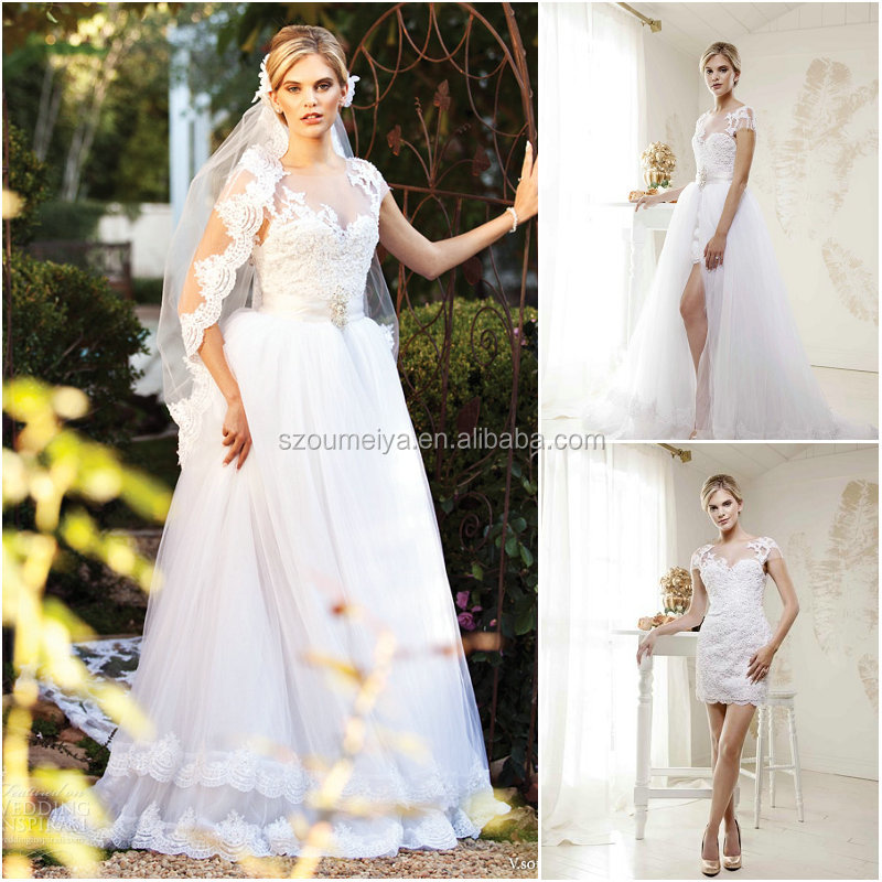 Oumeiya onw684 elegant short sleeve two piece detachable for Wedding dress removable skirt