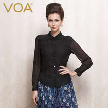 VOA Streetwear Long Sleeved Silk Shirts Female Lace Stitching Blouse B1070 Lapel Temperament