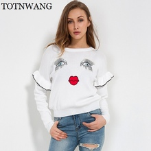 Winter fashion Eye lashes red lips loose sweater embroidery women/girl sweater pullover women's clothing ruffle long sleeve tops