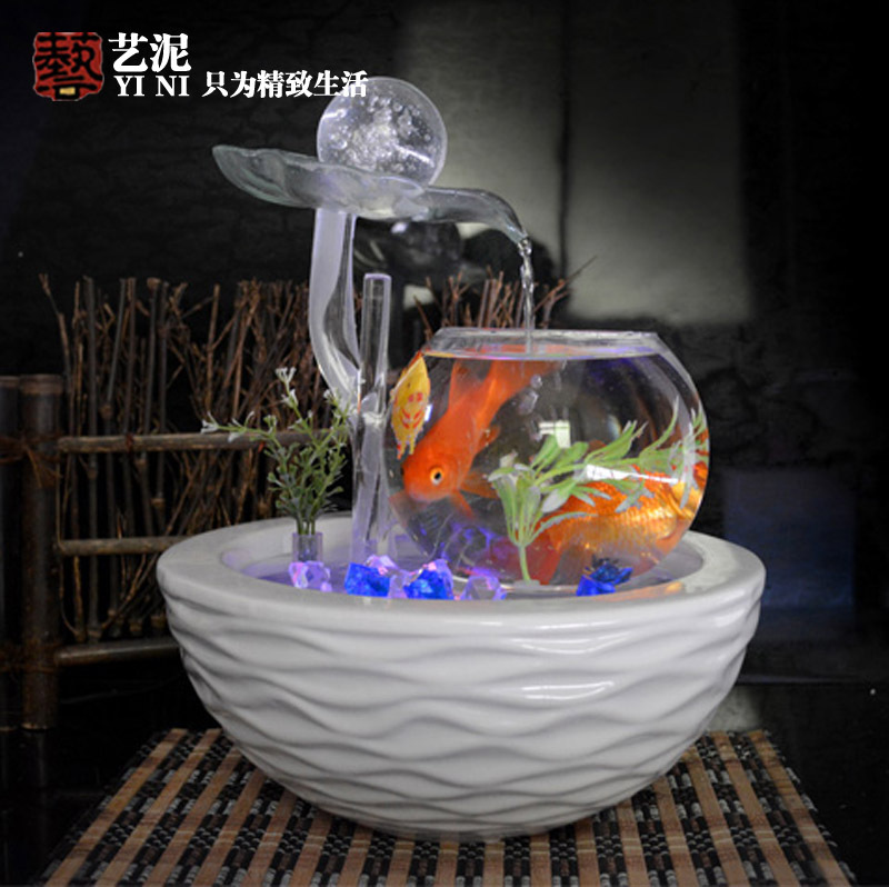 Housewarming Wedding Gifts Glass Ball Ornaments Ceramic Water Fountain Feng Shui Living Room