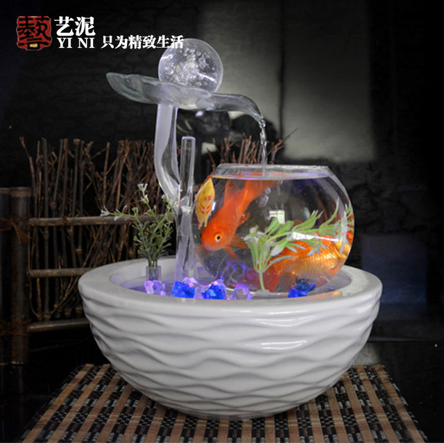 Perfect Housewarming Wedding Gifts Glass Ball Ornaments Ceramic Water Fountain Feng  Shui Living Room View Desktop Decoration