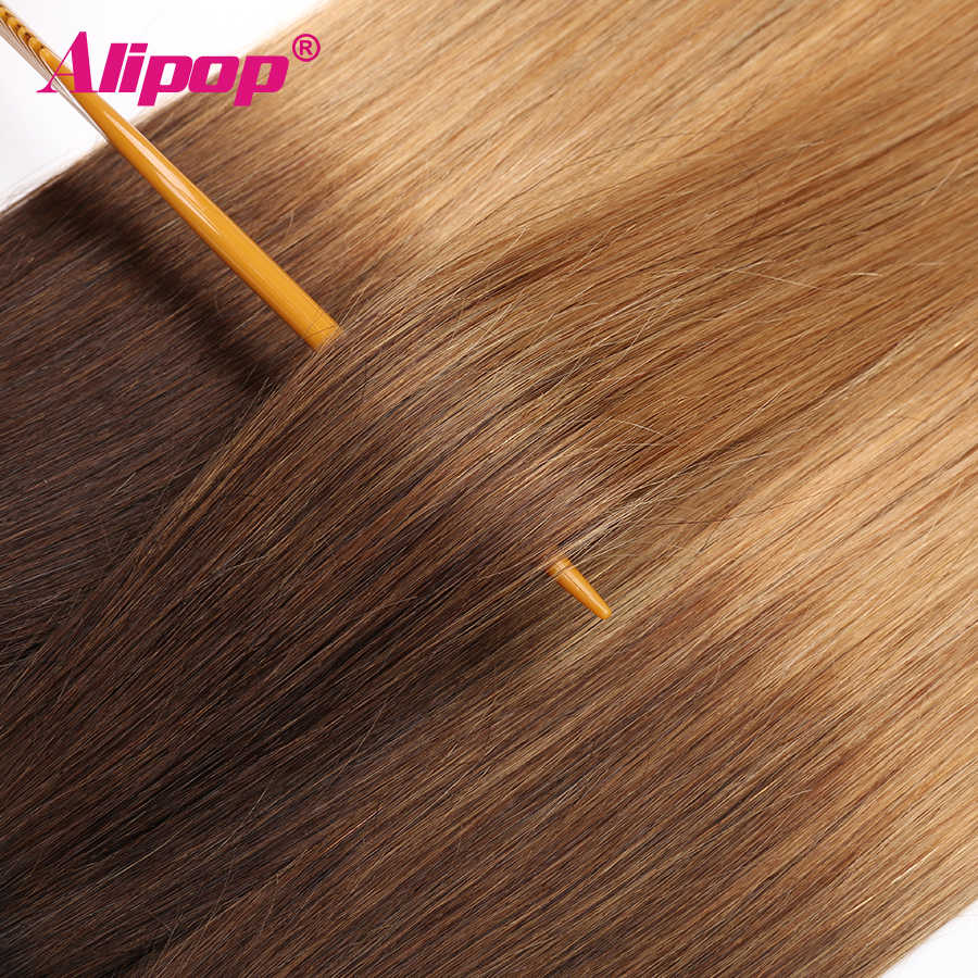 Ombre Brasilianische haar Gerade 3 Bundles 3 Ton 1B/4/27 Farbige Menschliches Haar Weave Bundles Deal Nicht remy Haar Extensions ALIPOP