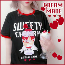 Харадзюку, летние футболки в стиле Лолиты с принтом «Сладкая вишня», милые хлопковые футболки с короткими рукавами в японском стиле