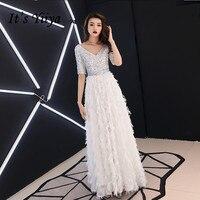 It's YiiYa Evening Dress Fashion Sequins Short Sleeve Long Formal Dresses White V neck Elegant Tassel Party Gown E031