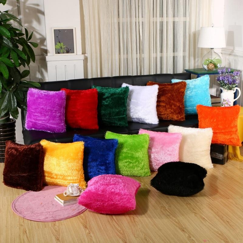 Cushion Cover Plush Velvet Fur Fluffy Sofa Soft Cushion Cover Throw Pillow Case Nordic Home Decoration Pillow Cover 40*40cm