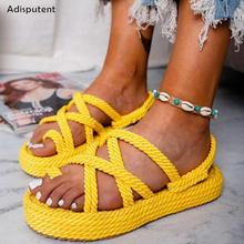 ADISPUTENT Summer Casual Sandals Flip Flops 2019 New Summer Fashion Rome Slip-On Breathable Non-slip Shoes Casual Wedge Sandals