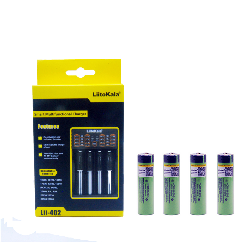 4pcs Liitokala 3.7V 3400mAh <font><b>18650</b></font> Li-ion Rechargeable Battery (NO PCB) + Lii-402 USB 26650 <font><b>18650</b></font> AAA AA Smart Charger image