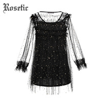 Rosetic Gothic Dress Black Women Mesh See Through Patchwork Star Dress Suits Mini Bodycon Lolita Sexy