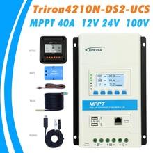 EPever MPPT 40A Контроллер заряда и разряда 12 В 24 в подсветка ЖК-дисплей для макс. 100 в вход солнечной панели Triron4210N