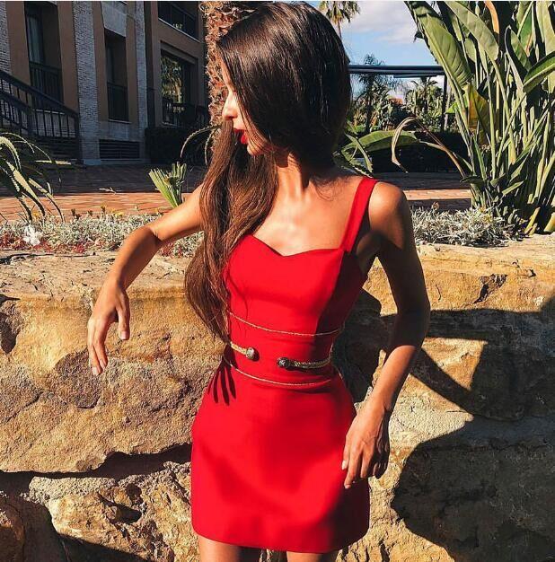 Del Elegante Randello Donne 2019 Sera Dal Cinghia rosso Missord Nero Il Mini Ft19259 Della Dalla Fasciatura Rosso Di Spaghetti Partito Delle Celebrità Vestito Sexy XZnqwd6Tn
