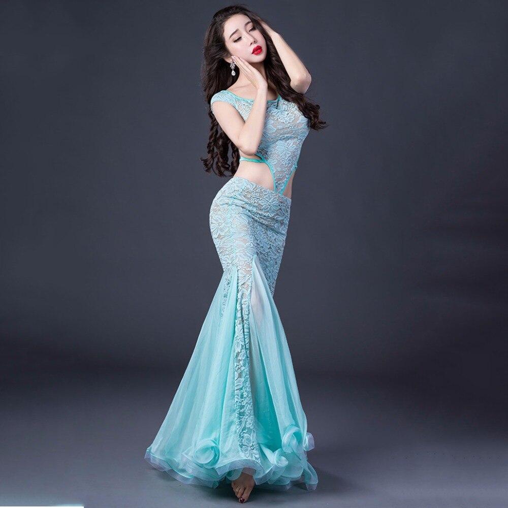 Professional Women Belly Dance Costume 2 Piece Set Short Sleeve Shirt Long skirt Lace Skirt Design