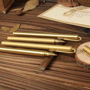 Латунная ручка, твердая Милая медная Роскошная роликовая ручка, канцелярская шариковая ручка, шариковая ручка для письма, металлическая ру...