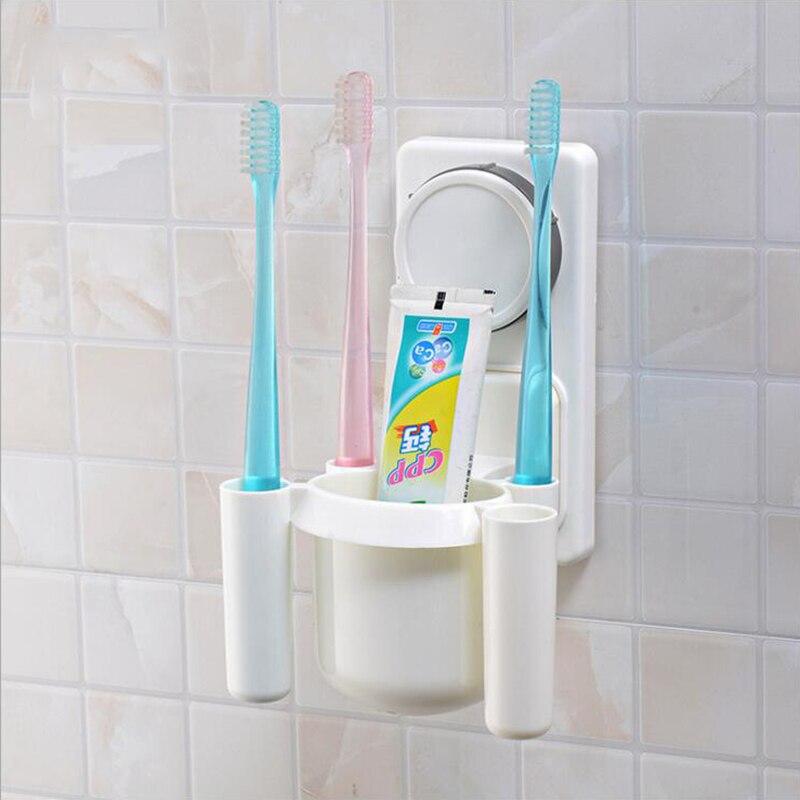 칫솔 홀더 마술 진공 흡입 아니오 드릴링 다양 한 벽 적응 큰 용량 높은 품질 플라스틱 욕실 Acc