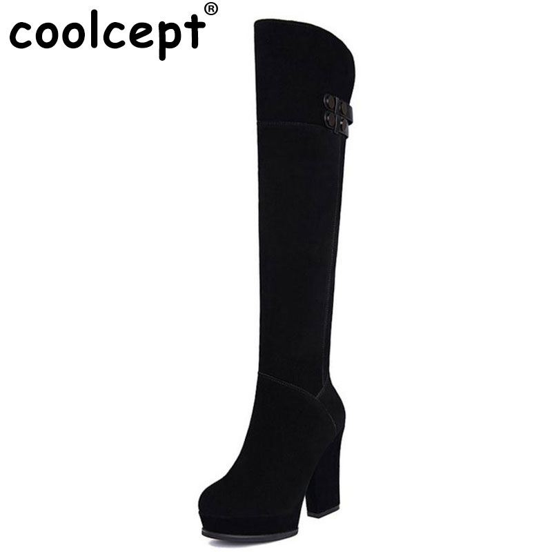 Coolcept Women Real Leather High Heel Boots Platform Zipper Over Knee Boot Winter Shoes Warm Fur Botas Women Footwear Size 34-39 pritivimin fn81 winter warm women real wool fur lined shoes ladies genuine leather high boot girl fashion over the knee boots