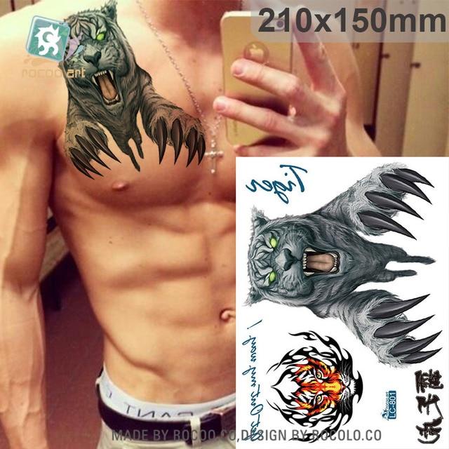 Lc 801moda Cuerpo Arte Muñeca Horror Tiger Diseños Grandes Tatuajes