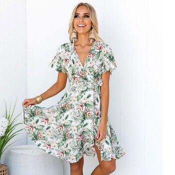 3dedbf7cf7d3da0 2019 летнее Новое Женское платье винтажная Флора принт v-образный вырез  богемное Платье женское элегантное пляжное платье для вечеринок