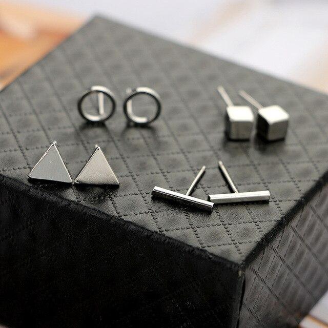 4 paar/set Trendy lichtmetalen Geometrische Oorbellen Driehoek Ronde Vierkante T Bar vorm oor sieraden voor vrouw gift