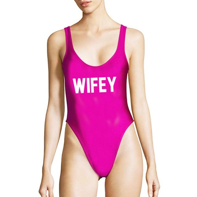 efe562f1ba1 Sexy WIFEY One Piece Swimsuit Women Swimwear Plus Size New Letter Print  Bodysuit Purple White Bathing
