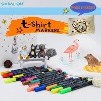 Simbalion tişört tekstil işaretleyici metalik renkli çizim gömlekleri feutre alcool grafiti boya kalemi su direnci manga İşaretleyiciler