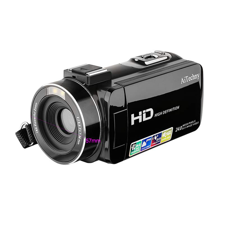 Camcorder, Digital Video Camera Full Hd 1080P 24.0Mp 3.0 Inch Lcd 270 Degrees Rotatable Screen 16X Digital Zoom Camera Recorde